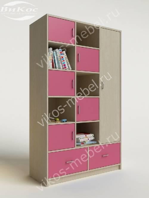 Девчачий детский шкаф для игрушек с ящиками для мелочей розового цвета