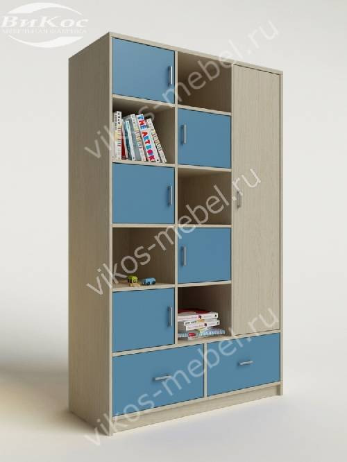 Мальчуковый детский шкаф для игрушек с ящиками для мелочей голубого цвета