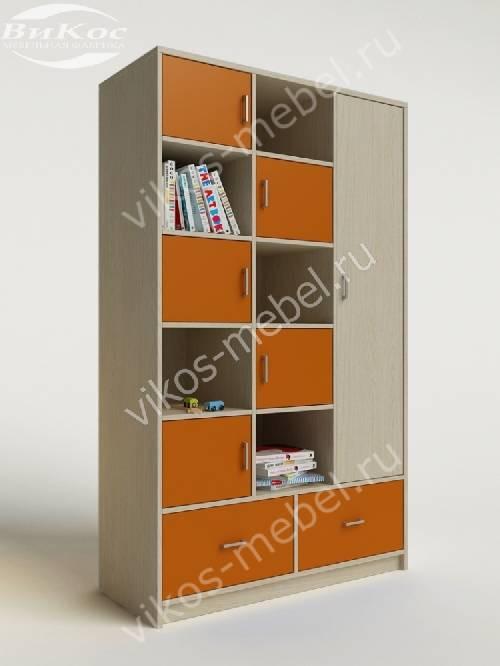 Девчачий детский шкаф для игрушек с ящиками для мелочей оранжевого цвета