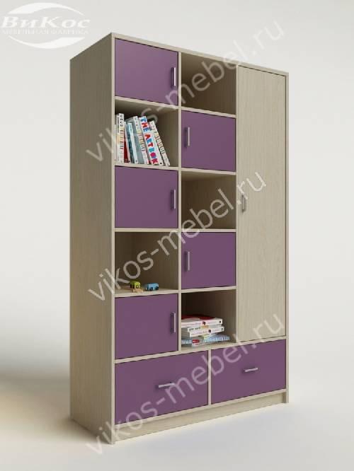 Детский шкаф для игрушек с ящиками для мелочей филетового цвета