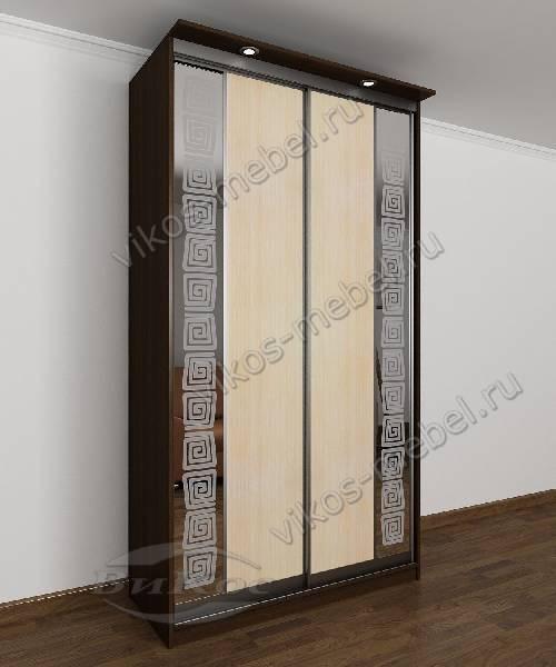 2-створчатый шкаф с раздвижными дверями с подсветкой для спальни с зеркалом цвета венге - молочный дуб