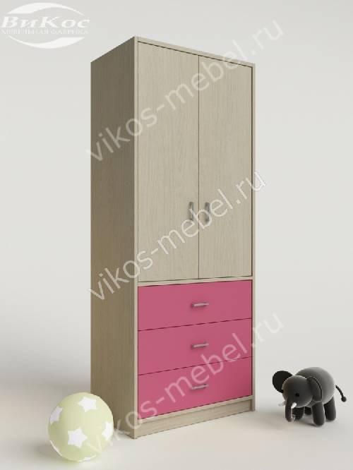 Шкаф в детскую с ящиками для девочки розового цвета