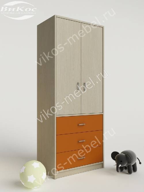 Шкаф в детскую с ящиками для девочки оранжевого цвета