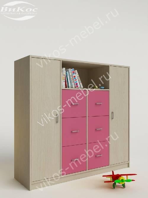 Малогабаритный детский распашной шкаф для девочки розового цвета