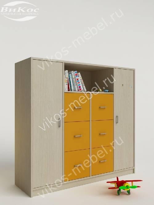 Малогабаритный детский распашной шкаф желтого цвета