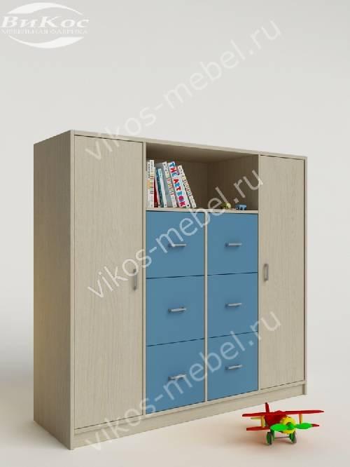 Малогабаритный детский распашной шкаф для парня голубого цвета
