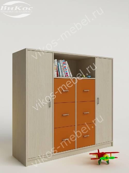 Малогабаритный девчачий детский распашной шкаф оранжевого цвета