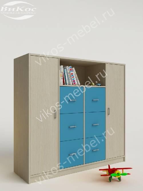 Малогабаритный детский распашной шкаф для мальчика цвета мармара голубой