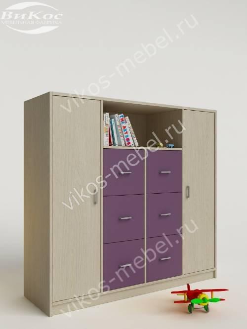 Малогабаритный детский распашной шкаф филетового цвета