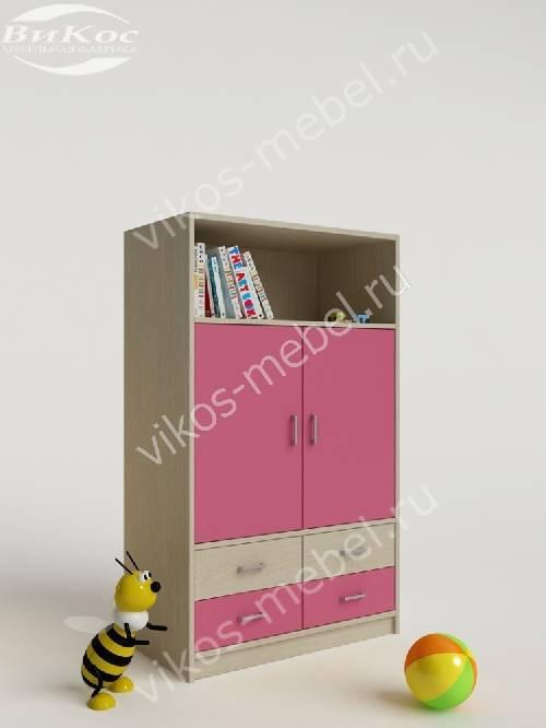 Детский шкаф для одежды с ящиками для мелочей для девочки розового цвета