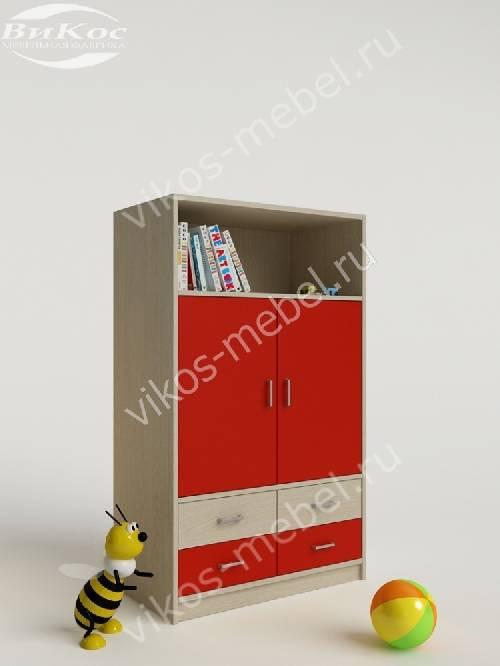 Девчачий детский шкаф для одежды с ящиками для мелочей красного цвета