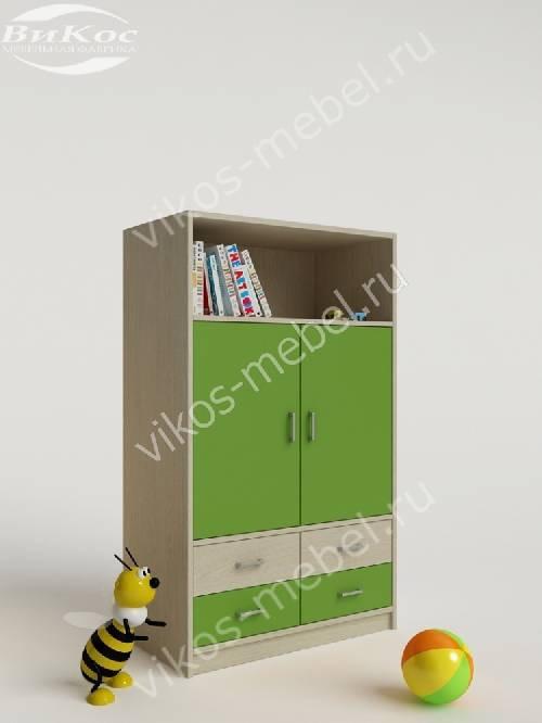 Детский шкаф для одежды с ящиками для мелочей зеленого цвета