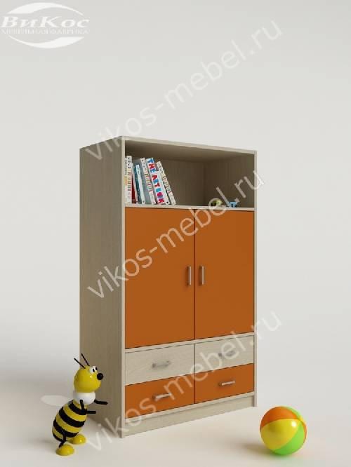 Детский шкаф для одежды с ящиками для мелочей для девочки оранжевого цвета