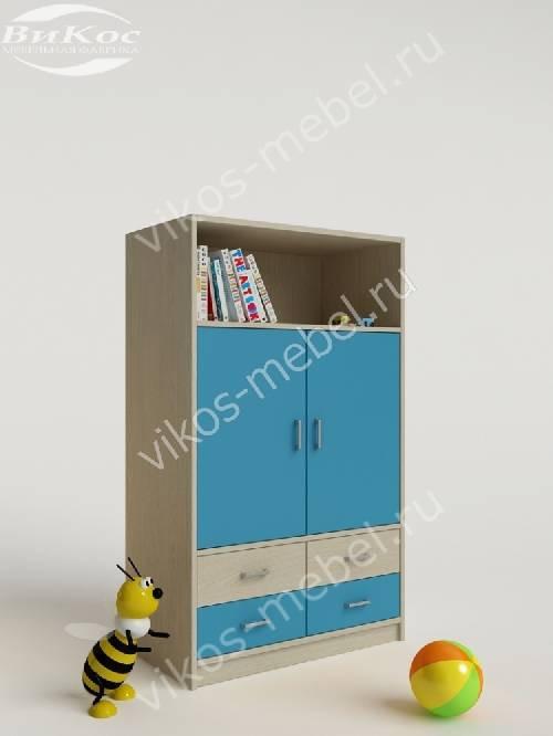 Детский шкаф для одежды с ящиками для мелочей для парня цвета мармара голубой