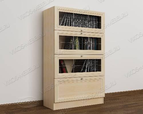 1-створчатый книжный шкаф библиотека c витражным стеклом цвета молочный беленый дуб