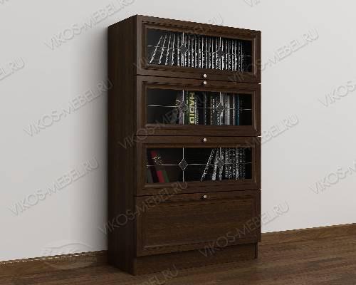 1-створчатый книжный шкаф библиотека c витражным стеклом цвета венге