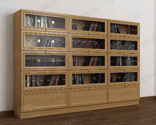 3-створчатый шкаф для книг библиотека с витражом цвета бук