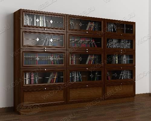 3-створчатый шкаф для книг библиотека c витражным стеклом цвета яблоня
