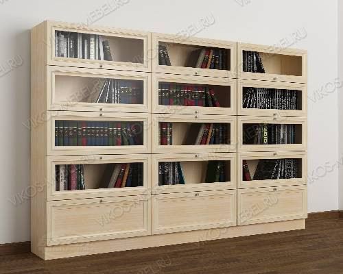 3-створчатый шкаф для книг библиотека цвета молочный беленый дуб