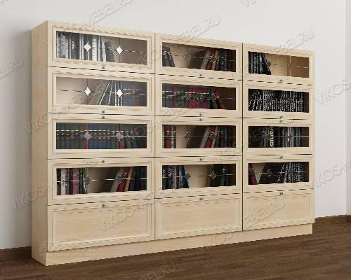 3-створчатый витражный шкаф для книг библиотека цвета молочный беленый дуб
