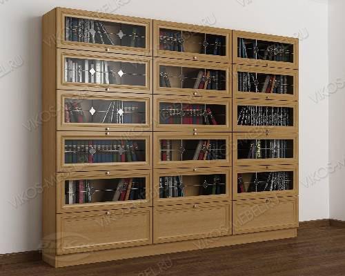 3-дверный книжный шкаф со стеклом библиотека c витражным стеклом цвета бук