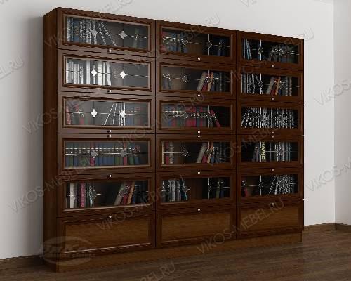 3-дверный витражный книжный шкаф со стеклом библиотека цвета яблоня