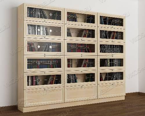3-дверный книжный шкаф со стеклом библиотека с витражом цвета молочный беленый дуб