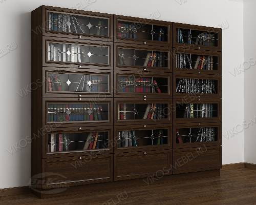 3-дверный книжный шкаф со стеклом библиотека с витражом цвета венге