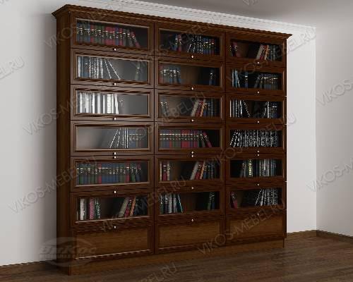 Трехстворчатый книжный шкаф со стеклянными дверями библиотека цвета яблоня