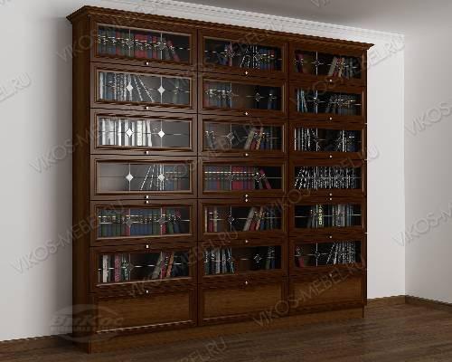 Трехстворчатый книжный шкаф со стеклянными дверями библиотека с витражом цвета яблоня