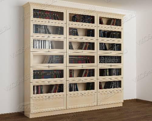 Трехстворчатый книжный шкаф со стеклянными дверями библиотека цвета молочный беленый дуб