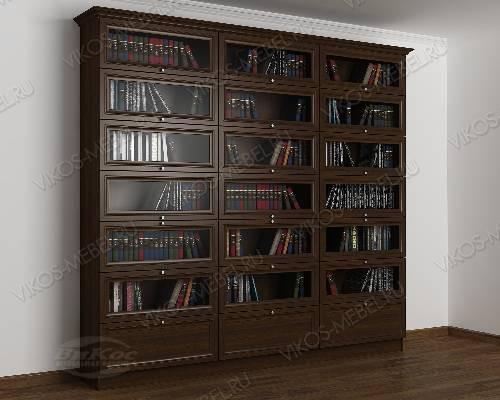 Трехстворчатый книжный шкаф со стеклянными дверями библиотека цвета венге