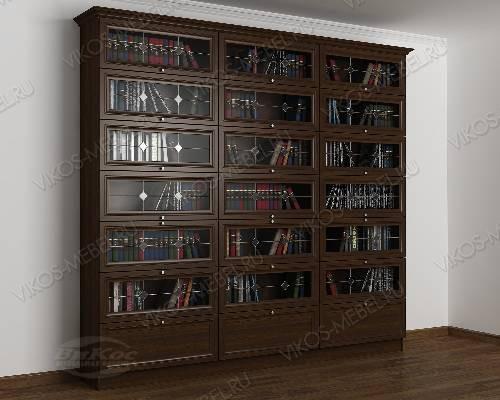 Трехстворчатый книжный шкаф со стеклянными дверями библиотека c витражным стеклом цвета венге