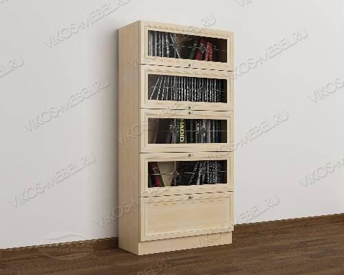 1-дверный витражный книжный шкаф со стеклянными дверцами библиотека цвета молочный беленый дуб
