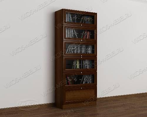 Одностворчатый витражный книжный шкаф библиотека цвета яблоня