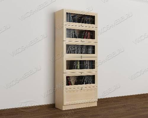 Одностворчатый книжный шкаф библиотека с витражом цвета молочный беленый дуб