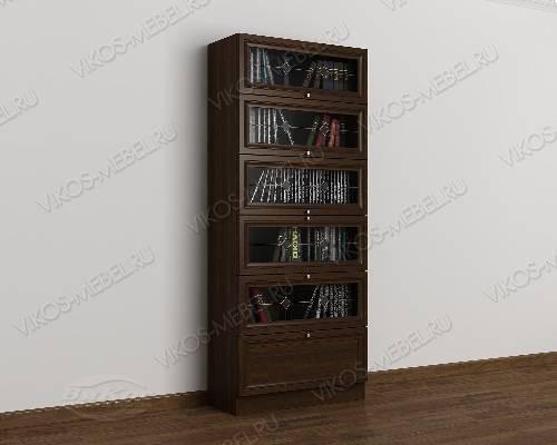 Одностворчатый книжный шкаф библиотека с витражом цвета венге