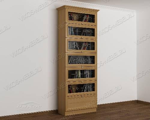 Однодверный витражный шкаф для книг библиотека цвета бук