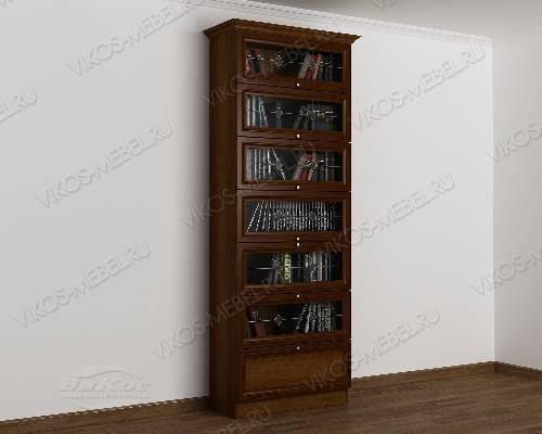 Однодверный шкаф для книг библиотека с витражом цвета яблоня