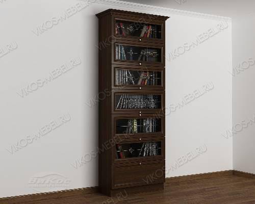 Однодверный шкаф для книг библиотека c витражным стеклом цвета венге