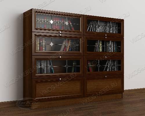 2-створчатый книжный шкаф со стеклом библиотека c витражным стеклом цвета яблоня