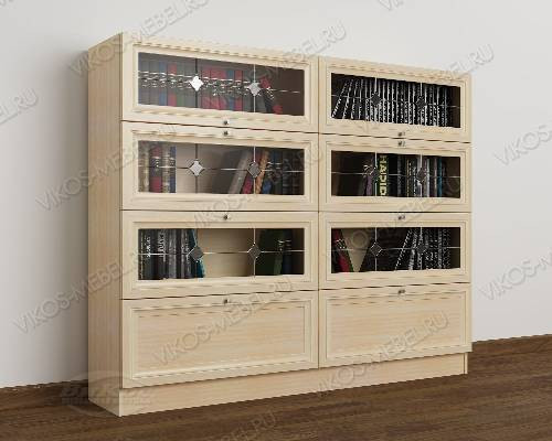 2-створчатый витражный книжный шкаф со стеклом библиотека цвета молочный беленый дуб