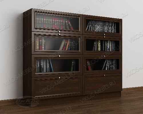 2-створчатый книжный шкаф со стеклом библиотека цвета венге