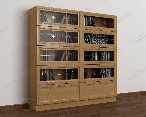 2-дверный книжный шкаф со стеклянными дверями библиотека c витражным стеклом цвета бук