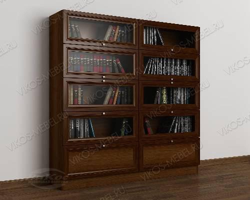 2-дверный книжный шкаф со стеклянными дверями библиотека цвета яблоня