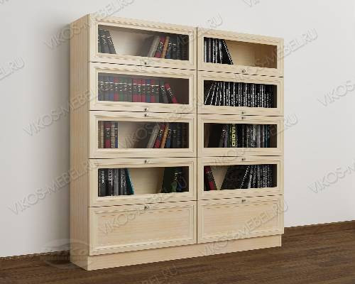 2-дверный книжный шкаф со стеклянными дверями библиотека цвета молочный беленый дуб