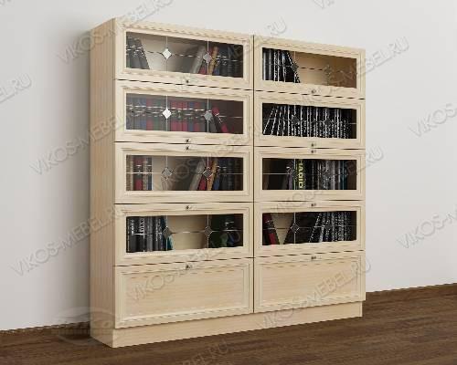 2-дверный книжный шкаф со стеклянными дверями библиотека с витражом цвета молочный беленый дуб