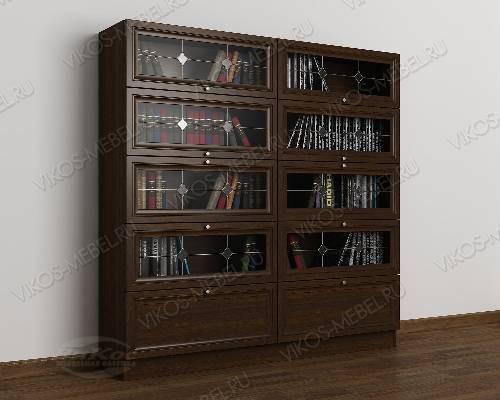 2-дверный книжный шкаф со стеклянными дверями библиотека с витражом цвета венге