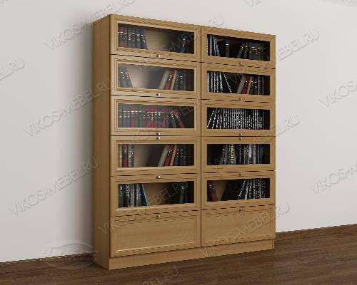 Двухстворчатый книжный шкаф со стеклянными дверцами библиотека цвета бук