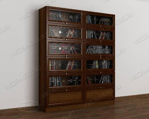 Двухстворчатый книжный шкаф со стеклянными дверцами библиотека с витражом цвета яблоня